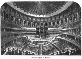 Historischer Kupferstich: Royal Albert Hall, London